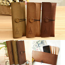 New Suede Leather Cosmetic Makeup Bag Pen Pencil Stationery Case Zipper Pouch