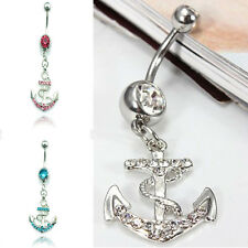 Smart Rhinestone Anchor Dangle Button Barbell Belly Navel Ring Bar Body Piercing