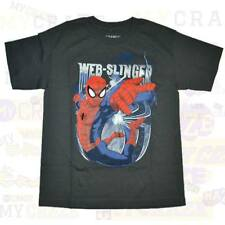 SPIDERMAN Marvel Web Slinger Dark Grey Boys Kids Youth T-Shirt Size M 8-9