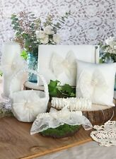 White or Ivory Lace Antique Pearl Wedding Guest Book Ring Pillow 6 Piece Set