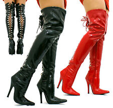 WOMENS LADIES FETISH KINKY SEXY THIGH HIGH HOOK LACE UP BOOTS SIZE 3 4 5 6 7 8