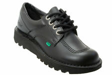 Kickers Lo Core Youth Black Boys Girls Leather Formal School Laced Shoes  3 To 6