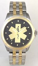 STEEL/GOLD TWO-TONE MEDALLION  EMS STAR OF LIFE WATCH - Choice of 2 dial colors.