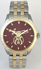 STEEL/GOLD TWO-TONE MEDALLION  SHRINER WATCH - Choice of 3 dial colors.