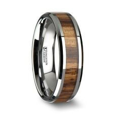 PALMALETTO Tungsten Carbide Ring with Beveled Edges and Real Zebra Wood Inlay -