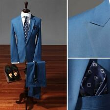 BLUE 1BT suit slim fit men s wedding formal Peak Lapel prom groom suits US UK