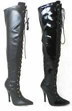 LADIES SEXY OVER THE KNEE HIGH HEEL FETISH LACE UP THIGH HIGH KINKY BOOTS 11720