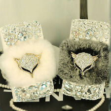 Luxury Diamond Beaver Bling Rabbit Fur Wallet Leather Cases For Samsung Galaxy