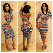 Sexy Winter Spring Women Bodycon Print Cocktail Club Party Dress Two Pieces Hot