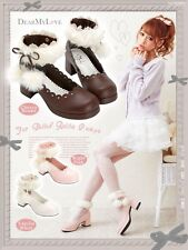 Japanese Design AMO Ladies Heels Fur Ball Pendant Cute Lolita Shoes White&Coffee