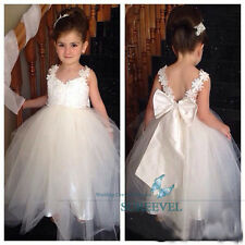 White Birthday Party Wedding Flower Girls Dress Bow Princess Gown Fancy Dresses