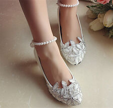 White lace pearl anklet flowers crystal Wedding flat shoes ballet Bridal shoes