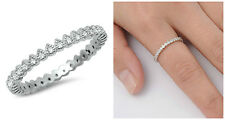 .925 Sterling Silver 2MM STACKABLE ETERNITY CLEAR CUBIC ZIRCONIA RING SIZE 4-10