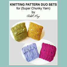 KNITTING PATTERN Duo Vintage Country Cottage Cable Chunky Yarn Cushion Covers!