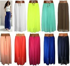 Ladies Women Girls Designer Chiffon Skirt Long Maxi Skirt Belted Waist Size 8-16