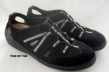 NEW CLARKS JULIE BLACK SUEDE / FABRIC SANDALS SHOES SIZE 4 / 37