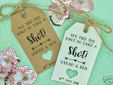"Personalised Wedding ALCOHOL Favour Gift Tag ""Drink me"" Bottle Guest Label Kraft"