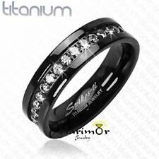Solid Titanium Black Ion Plated Cubic Zirocnia Wedding Band Ring 6mm wide Sz6-14