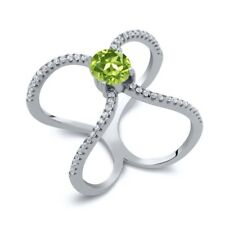 1.48 Ct Round Green Peridot 925 Sterling Silver Ring