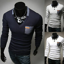 Mens Premium Pocket V Neck Long Sleeve T-Shirt Knit Tee Top D-342 S/M KOREA