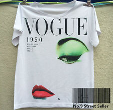 Fashion T-shirt Top Tee 1950 Lady Beauty Vogue with Pale Face Mysterious Red Lip