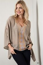 Umgee Anthropologie Bohemian Mocha Embroidered Open Sleeve Blouse  S M L