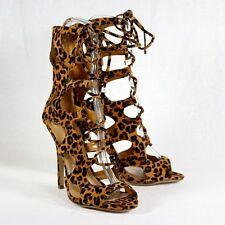 Gladiator Lace up Cut Out Stiletto Heel LEOPARD Size 6.5,8