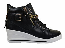 WOMENS LADIES HIGH TOP ANKLE WEDGE TRAINERS SPORT BOOTS PLIMSOLLS ZIP SHOES SIZE
