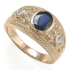 Men's 14k Solid Rose Gold Three-Stones Genuine Sapphire and Diamonds Ring