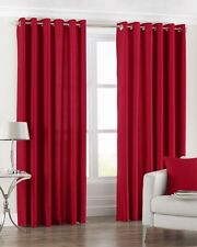 """SALE Red thick cotton eyelet ring top lined curtains66"""" wide x 90""""  long drop"""