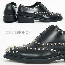 MENS Shoes Perforated Studded Black Leather Oxfords HANDMADE 6077,GENTLERSHOP