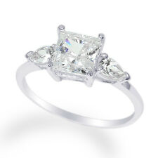 Ladies 10K  White Gold Solid Solitaire Ring with Accents CZ