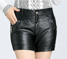 2015 New Womens Ladies PU Leather Washed Leather Zip Shorts Plus Size Hot Shorts