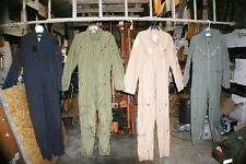 FLIGHT SUIT COVERALLS OLIVE TAN BLUE GREY BUTT FLAP LOTS ZIPPERS POCKETS VELCRO