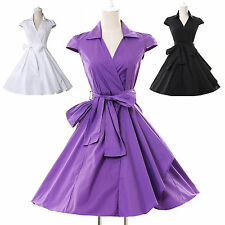 Tea Length Vintage Rockabilly Retro Housewife Swing 50s Pinup Evening Prom Dress
