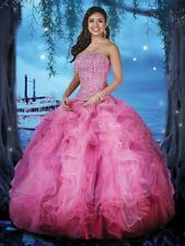 Lovely Pink Strapless Ball Gown Organza Handmade Quinceanera Dresses Custom Made
