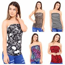 NEW WOMENS LADIES ANIMAL LEOPARD PRINT STRAPLESS RUCHED BOOBE TUBE BANDEAU TOP