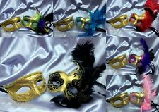 Mardi Gras Masquerade Set For man and woman Couple fancy midnight Party Mask