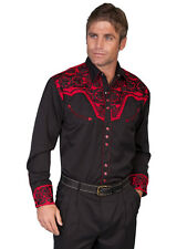 Scully Mens Embroidered Western Shirt Tomato Perl Snap P-634 M L XL XXL