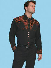 Scully Mens Embroidered Western Shirt Black Perl Snap P-634 S M L XL XXL