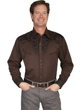 Scully Mens Embroidered Western Shirt Chocolate Perl Snap P-634 S M L XL XXL