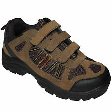 NEW MENS VELCRO  HIKING BROWN BOOTS BOYS TRAIL TREKKING WALKING TRAINERS SHOES