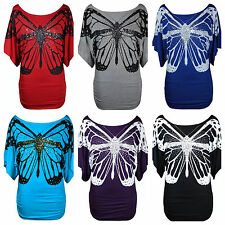 NEW LADIES SEQUIN BUTTERFLY PRINT BATWING SHORT SLEEVE OFF SHOULDER T SHIRT TOP