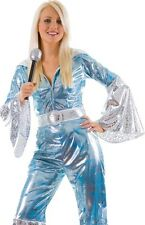 1970s 70's Waterloo Pop Disco Dancing Jumpsuit Ladies Fancy Dress Costume XS - L