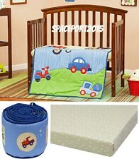 Cars Trucks Vehicles PORTABLE Mini CRIB COMFORTER+SHEET +/or BUMPER Set Kids Bed