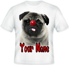 ** GIRLS BOYS KIDS Pug Dog Red Nose Day T shirt Great Gift Idea **