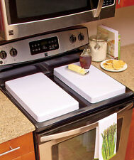 Set of 2 GAS STOVE TOP COVERS Black White Almond Conceal Baked On Stains Kitchen