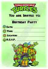 A5 SUPERHERO CHILDRENS PARTY INVITATIONS X 12 - TEENAGE MUTANT NINJA TURTLES