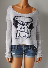 "NWT ABERCROMBIE & FITCH ANF WOMENS ""CARLEY"" PUPPY LOGO EASY-FIT SWEATER"
