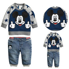 Children Clothing Baby Boys Mickey mouse Long Sleeve Shirt Jeans/Pants Outfits